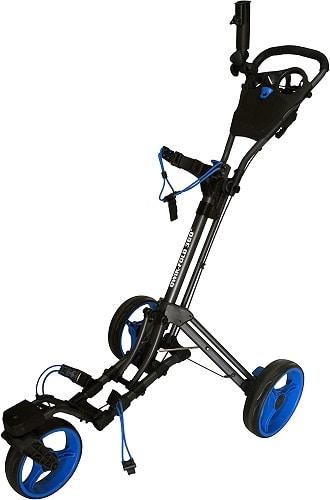 qwik fold 360 swivel 3 wheel golf pushcart