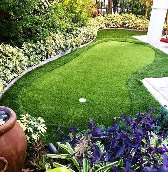 golf practice in backyard
